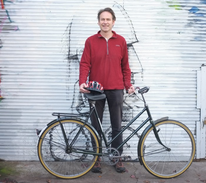 An Amsterdam bicycle labelled The Burger Deverter, we also did a full restoration on this, came out a treat.