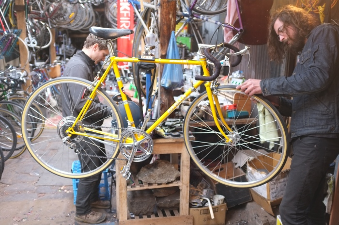 Nick finishing a full restoration on an Apollo. Nice Japanese bike, came out very well.