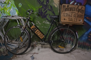 Our Brunswick St sign bike hand painted by George Rose.