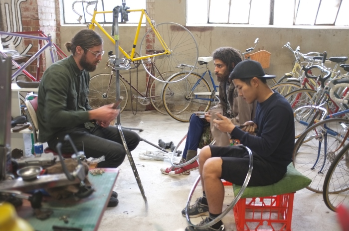 Nick teaching a masters class on wheel building