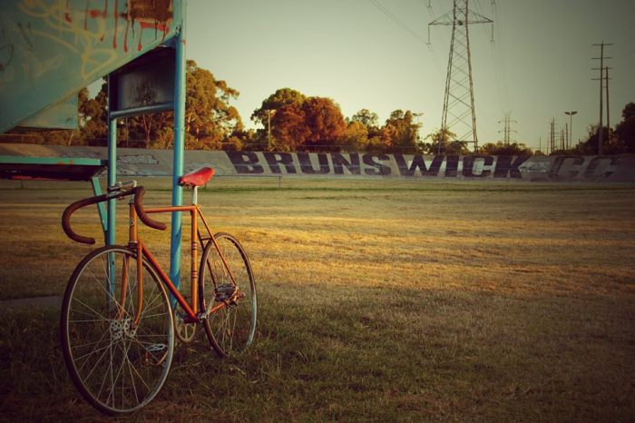 The newly finished Bates 1940's track bike at the Brunswick velodrome for a test, pic and build by Alex at Mottainai