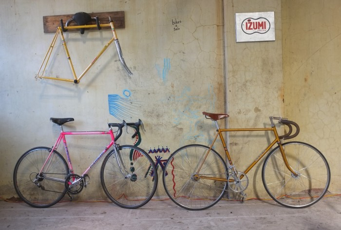 Some last shots taken in our old shop on Rose Street Fitzroy, it was demolished 3 hours after us moving out, making progress for more prefab apartments. The beuiful Bates track bike and stunning Moser in shocking pink are still for sale in our new shop at 23 Johnston Street Collingwood in the rear down the laneway.