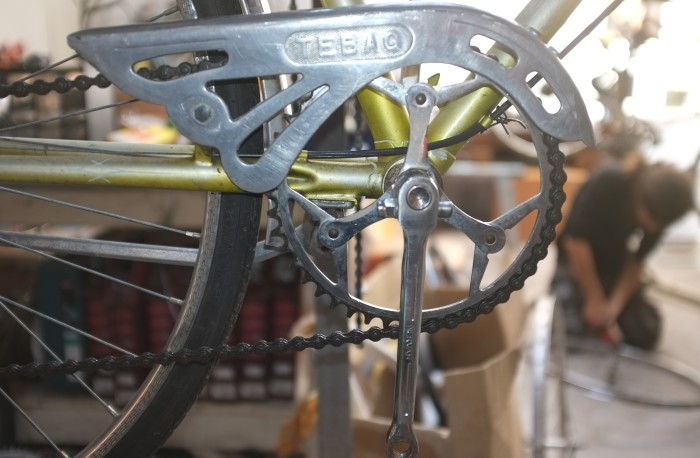 This lovely bike came in the other day, a chap brought it over from Europe after living there, very cool details, this is a good example of why we love vintage bikes at Mottainai, The Tebag! haha