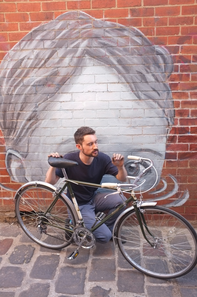 James holding a beautiful Raleigh Record, late 60's in our new laneway.