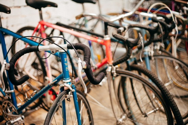 Some of our vintage bikes waiting for their next owner to walk in ... love at first sight.