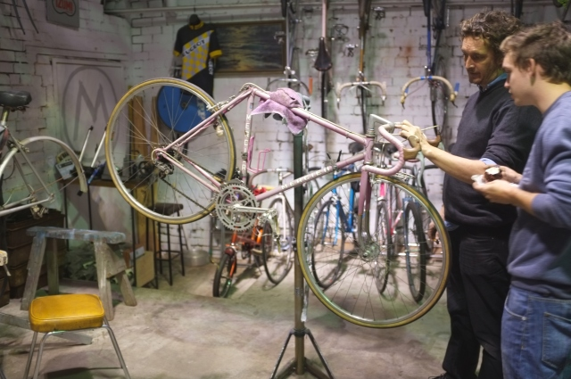 French Mercier in light pink undergoing a full restoration. Mottainai Cycles.