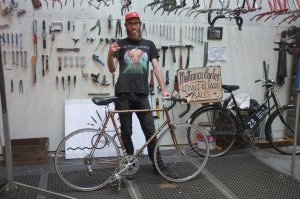 Here's Dan with one of his shop floor favourites: a 1970s custom built Cecil Walker.