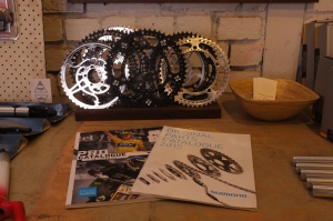 Bespoke Chainrings and Shimano catalogues. All ready to pimp out your bike!