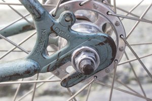 JA Holland detail: Cyclo dropouts and Campagnolo Record hub...