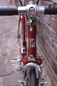 Mafac Racer brakes and Schwalbe tyres. Check out that minty headbadge, too!