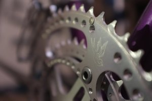 Bespoke Chainrings Drillium Swallow road rings. Available now at Mottainai Cycles