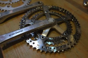 Bespoke Chainrings Drillium road double. Day of the Dead design