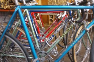 A few of the bikes we have for sale in the shop, we have over 100 frames waiting to be built and many complete bikes waiting for their owner to walk in and recognize them.